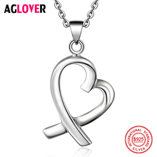 AGLOVER 925 Sterling Silver Women Necklace Fashion Charm Heart Pendant Necklace 100% Silver 50cm Chain Fine Brand Jewelry цена