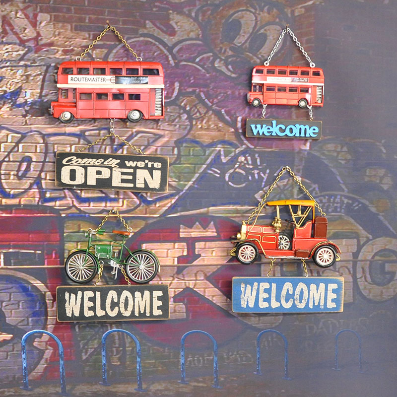 2017 new Vintage store house creative Welcome bus wall sign coffee shop bakery restaurant decoration wall hanging sign