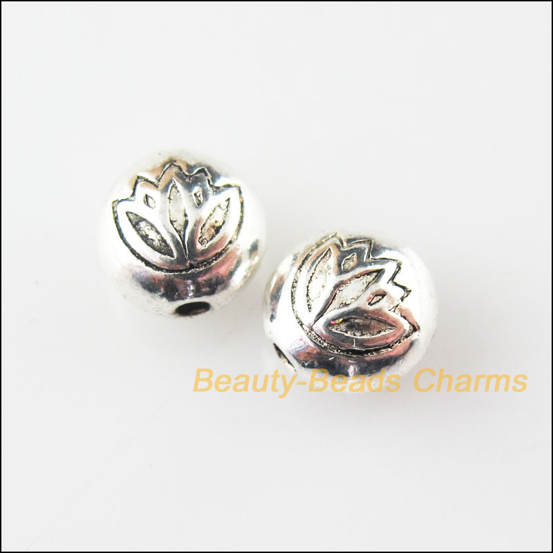 20Pcs Antiqued Silver Tone Tiny Flower Spacer Beads Charms 8mm