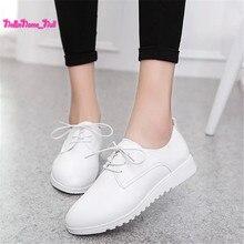 Nueva Moda Madre Enfermera Pisos Mujer Zapatos de Los Planos Ocasionales Mocasines Femeninos de Cuero Blanco Suave Cordón Puntiagudos Mocasines Zapatos