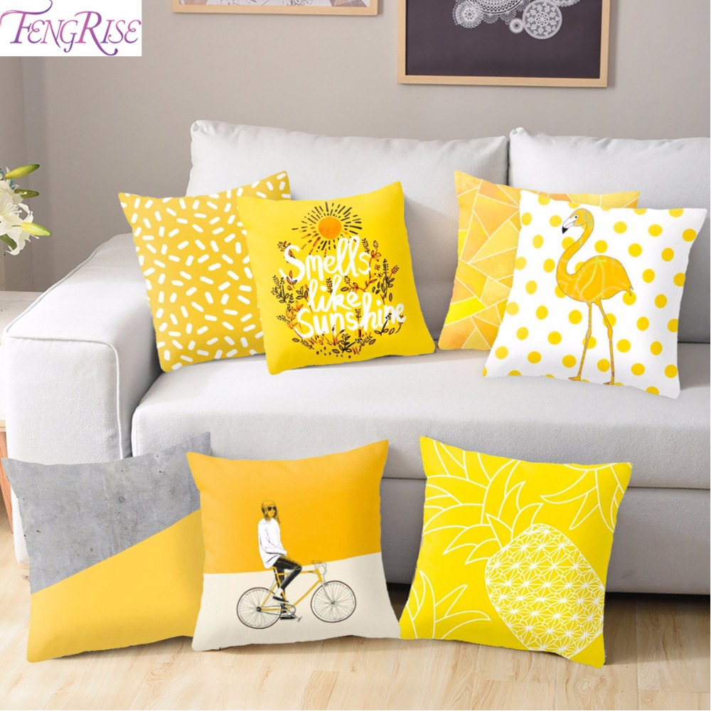 FENGRISE Geometric-Cushion Pillow Seat Pineapple-Pillow Yellow Sofa Polyester Printed