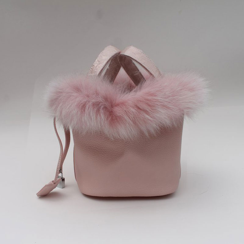 Autumn and winter new bucket bag Europe and the United States fashion Fox fur Dish blue bag 2017 autumn and winter small bag new