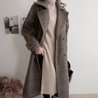Casual Pockets Long Wool Coat Turn down Collar Wool Blend Coat and Jacket Plaid Wide waisted Women Coats Autumn Winter