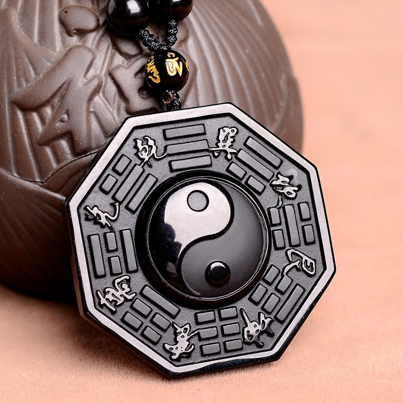 Dropshipping Black Obsidian Necklace Pendant Chinese Bagua Mens Jewelry Womens -4381