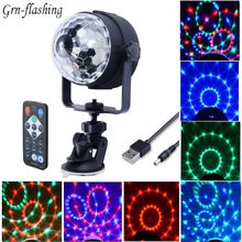 3W USB 5V Mini Disco ball lamp DJ KTV Stage light Wireless IR Remote Voice activated Lamp home Party dance floor RGB show