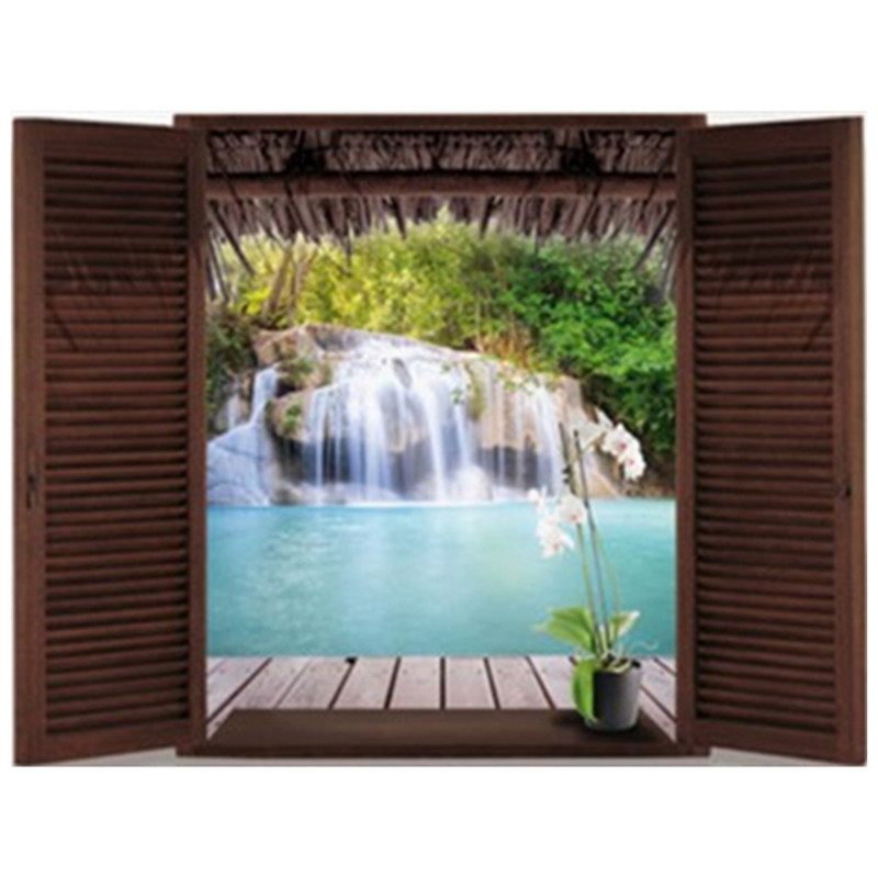 Occident Fake 3d Window Waterfall Scenery Wall Stickers