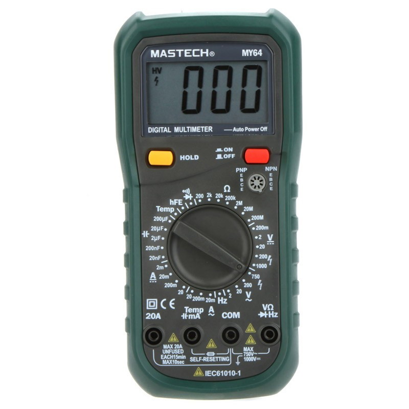 1pcs MASTECH MY64 Digital Multimeter AC/DC DMM Frequency Capacitance Temperature Meter Tester w/ hFE Test Ammeter Multimetro  цены