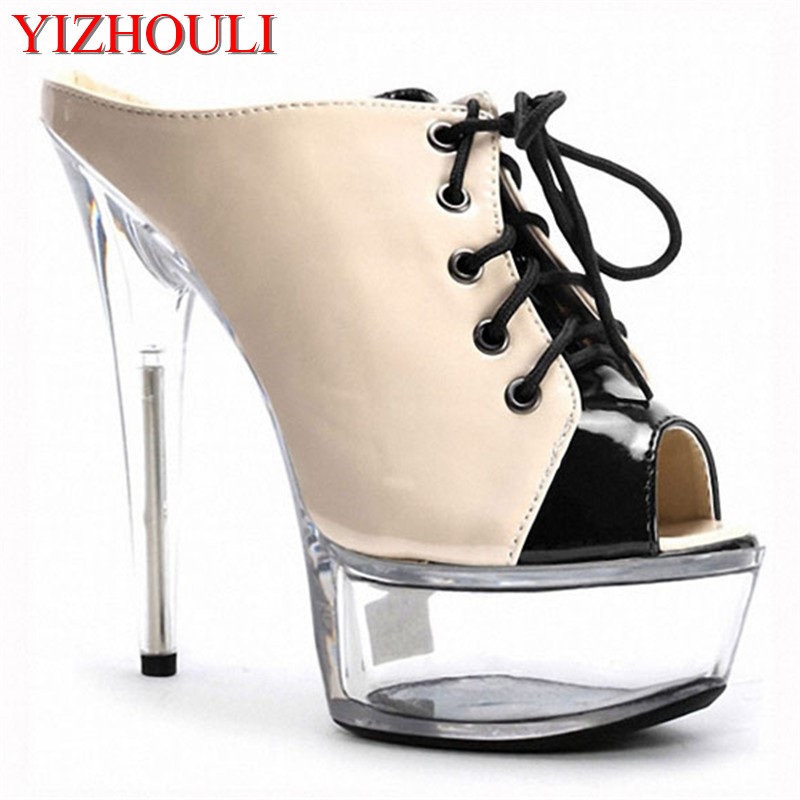 Sexy Stage Star Favorite Fish Mouth With Sandals Black Bride Wedding Shoe 15 Cm High Heels Womens Dance Shoes Office & School Supplies