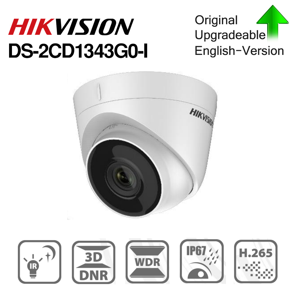 Hikvision DS 2CD1343G0 I POE Camera Video Surveillance 4MP IR Network Dome Camera 30M IR IP67 H.265+ 3D DNR-in Surveillance Cameras from Security & Protection