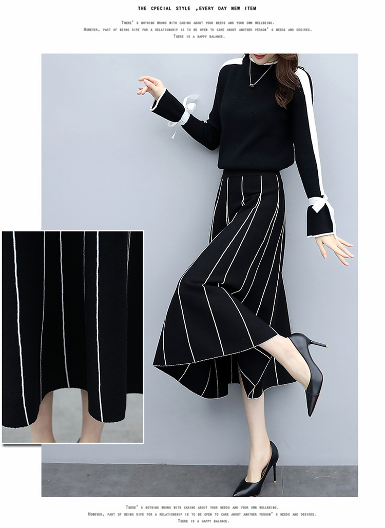 Plus Size Black Women Knitted Two Piece Sets Bow Tie Sweater And Long Skirt Suits Sets Winter Casual Elegant Vintage Ladies Sets 46