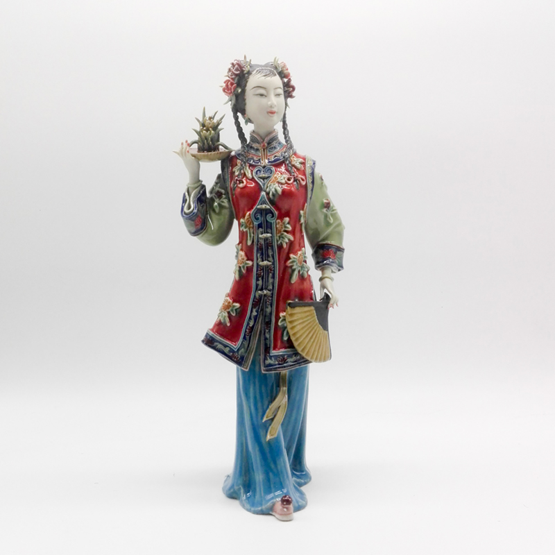 Antique chinese lady ceramic statue lanxin pure manual
