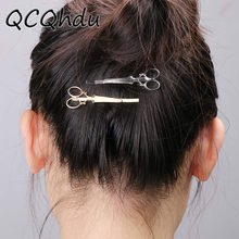 1PC New Charm Sweet Gold Silver Scissors Shaped Hairpin Bridal Hair Accessories Wedding Hair Clips(China)