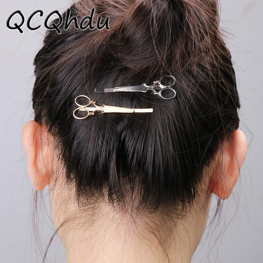1PC New Charm Sweet Gold Silver Scissors Shaped Hairpin Bridal Hair Accessories Wedding Hair Clips