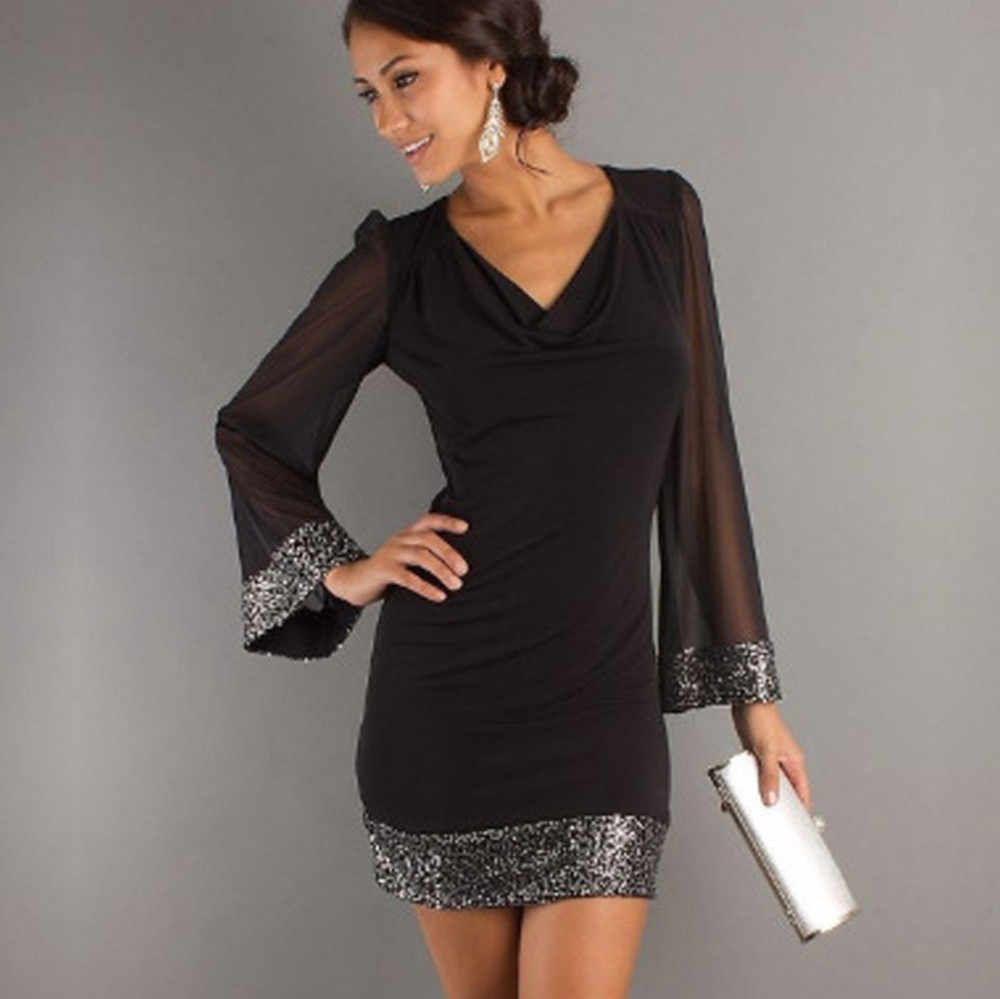 a44afc4683 Dress Female 2018 Women Casual V-Neck Sequined Long Sleeve Stitching Mini  Dress High Quality