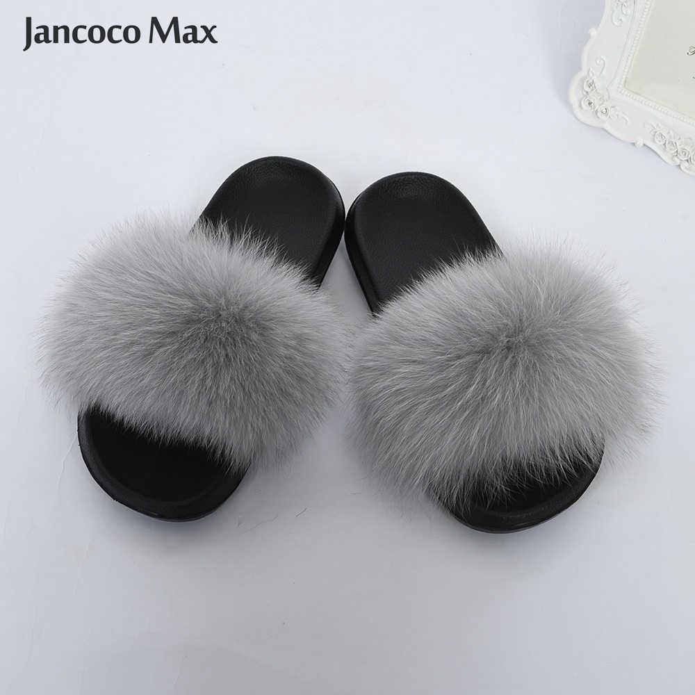 f3d9de46049 2019 New Arrival Women Real Fox Fur Slipper Natural Fur Slides EVA Sole  Indoor Summer S6043B