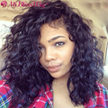 Glueless Short Human Curly Lace Front Wigs For Black Women 150% Density Left Part Brazilian Virgin Remy Human Hair Curly Wig