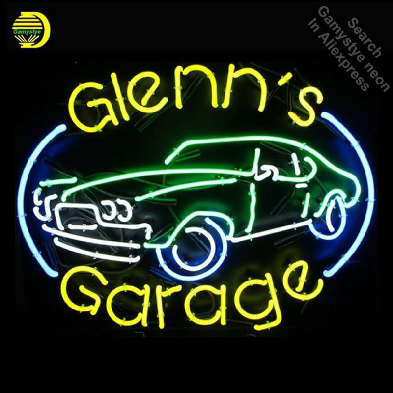 Glenn's Garage Neon Sign light Car Neon Bulb Signage Vintage neon signs Business Sign Real Glass Tube with clear Board Beer Sign