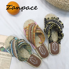 2019 Bohemian Women Linen Slippers Striped Ribbon Cork Sandals Flat Non-Slip Flip Flop Home Shoes Casual Straw Beach Slipper