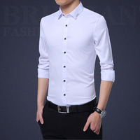 Koreaanse mannen slim wit shirt en lange mouwen 2018 nieuwe mannen shirt