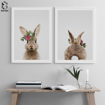 Kawaii Animal Rabbit Posters And Prints Wall Art Canvas Painting Flower  Bunny Pictures For Living Room Nordic Nursery Decoration