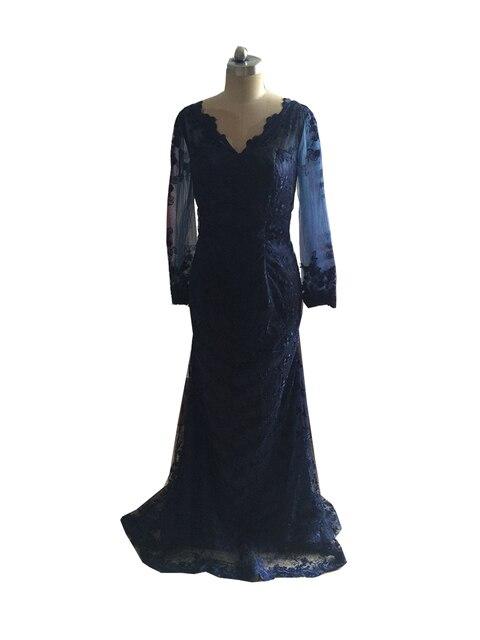 fc2b01909cc Beauty A-Line V Neck Long Sleeves Lace Appliques Evening Dresses Court Train  Navy Blue Party Long Dress