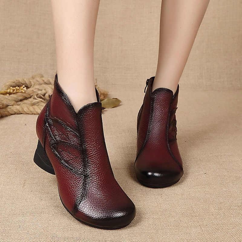 ZZPOHE Sonbahar Kış Kadın Hakiki Deri Düz yarım çizmeler Kadın rahat ayakkabılar Kadın Su Geçirmez Sıcak Kar Botları Bayan Ayakkabıları