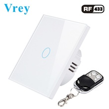 Vrey EU Smart Touch Switch,remote control wall switch,AC110V-220V light switch,Tempered Glass Crystal Panel and  1-3 gang 1 way