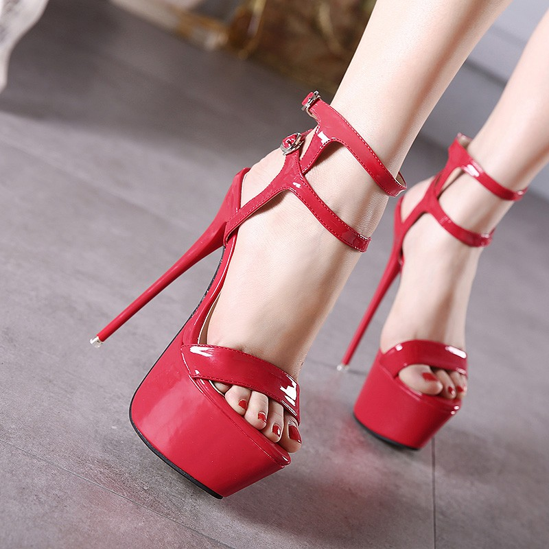 Size 34-46 Pu Leather High Heels Sandals 16cm Stripper Shoes Summer Wedding Party Shoes Women Gladiator Platform Sandals