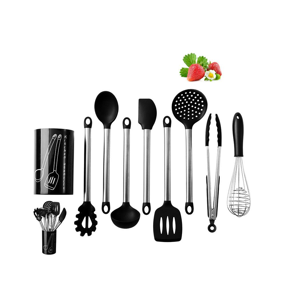 LanLan Silicone Kitchen Utensils Set Stainless Steel Handle Tong Spoon Spatula Pasta Server Whisk Ladle Strainer