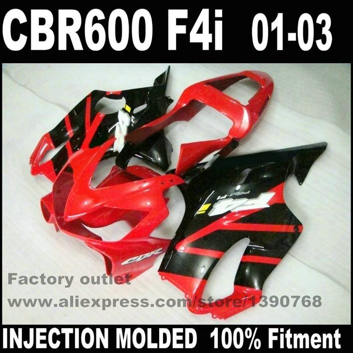 все цены на Injection Molded for HONDA CBR 600 F4i fairings 01 02 03 bodywork CBR600 2001 2002 2003 black red fairing kit RE92 онлайн
