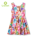 Summer Candy Colorful Animal Cat Dog Sleeveless Garment knee-length Children's Girl Dress Girls Clothes Kids Princess Dresses