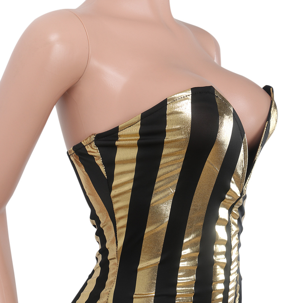 9f8495887dc Women Dressy Strapless Jumpsuit Sexy V Neck High Waist Black Gold Striped  Print Wide Leg Pants Romper Party Formal Jumpsuits-in Jumpsuits from  Women s ...