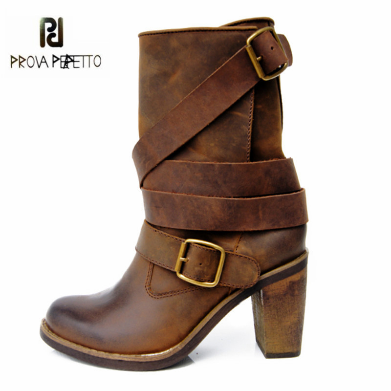 Prova Perfetto Brown Women Genuine Leather High Heel Boot Platform Mid-Calf High Boots Buckle Straps Martin Botas Shoes Woman prova perfetto winter women warm snow boots buckle straps genuine leather round toe low heel fur boots mid calf botas mujer