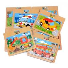 Baby Wooden Toys 3D Jigsaw Puzzle Cartoon Animal/Vehicle/Ocean/Dinosaur Puzzle Bus Puzzles Intelligence Educational Christmas