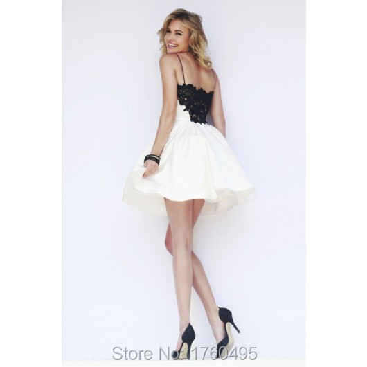 1f135d216 Cute Lace Spaghetti Straps Short Homecoming Dress Black White 8th Grade  Junior Formal Graduation Dresses. 32099-1_2_meitu_1 32099-2_2 32099-3_2 ...