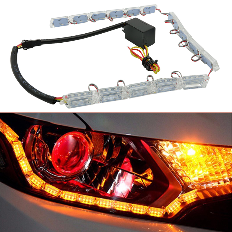 Car LED DRL Daytime Running Strip lights Turn Signal lights For Volkswagen Passat B6 B7 CC Golf 5 6 7 Jetta MK5 MK6 Tiguan atreus 2x car led crystal water lamp drl daytime running light 12v for volkswagen vw polo golf 4 5 6 7 passat b5 b6 touran honda