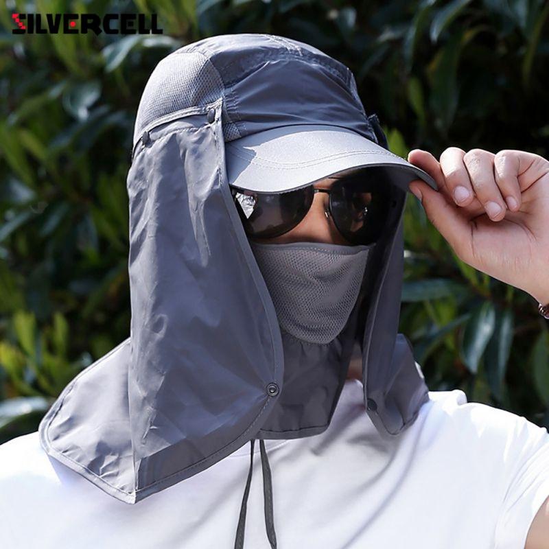 Sun Caps Flap Hats 360 Degree Solar UV Protection Sun Hat Summer Men Women Sun Visor Cap Folding Removable Neck Face Mask Head