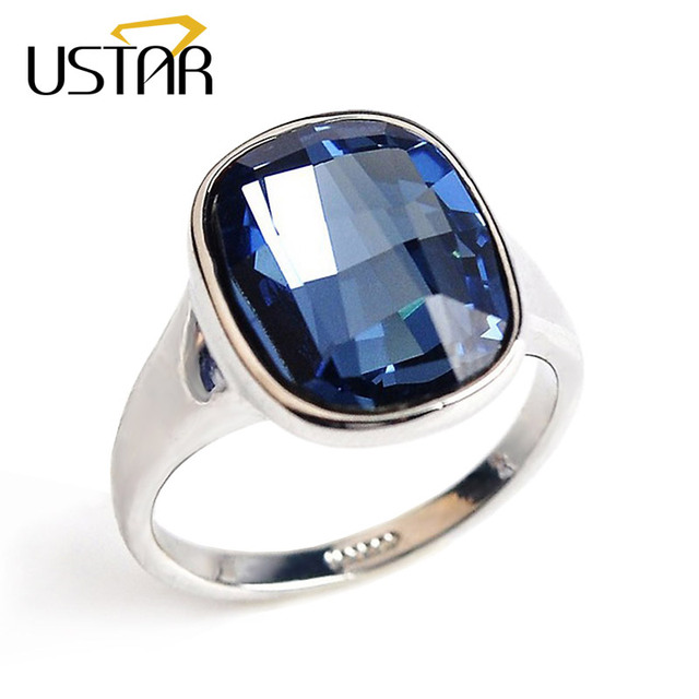 Ustar Blue Zirconia Crystal Wedding Rings For Women Jewelry Silver Color Mood Female Anel Bijoux
