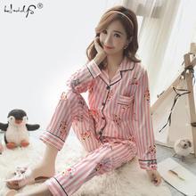 Outono inverno das mulheres listrado dos desenhos animados pijamas define cetim pijamas de seda sleepwear manga longa 2 peça pijamas conjunto feminino