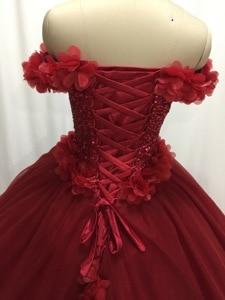 Image 4 - ILUSY Gorgeous 3D flora สีแดงชุดแต่งงานชุดนอนชุดลูกปัด Sweetheart Gowns เจ้าสาว Vestidos de noiva