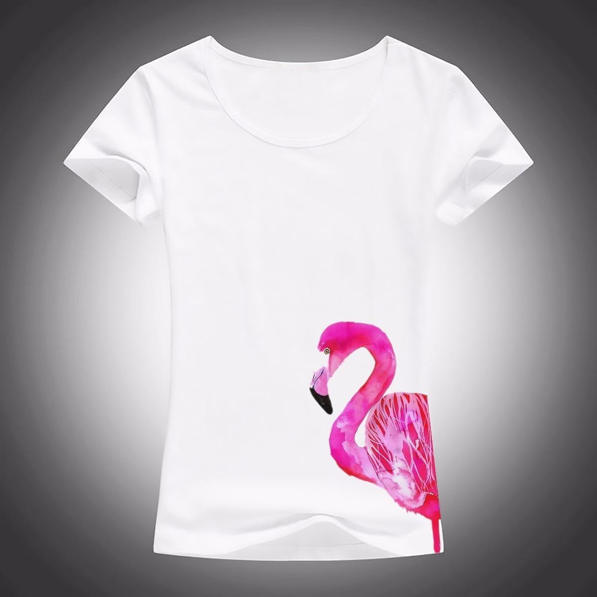 Design t shirt china - Cute Flamingo Painting Design T Shirt Women White Casual T Shirt Short Sleeve Breathable O