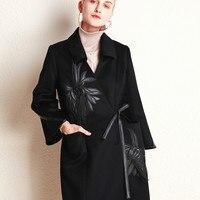 2018 зимнее женское Шерстяное кашемировое пальто с v образным вырезом, длинное шерстяное пальто с вышивкой и поясом, повседневная куртка с шир