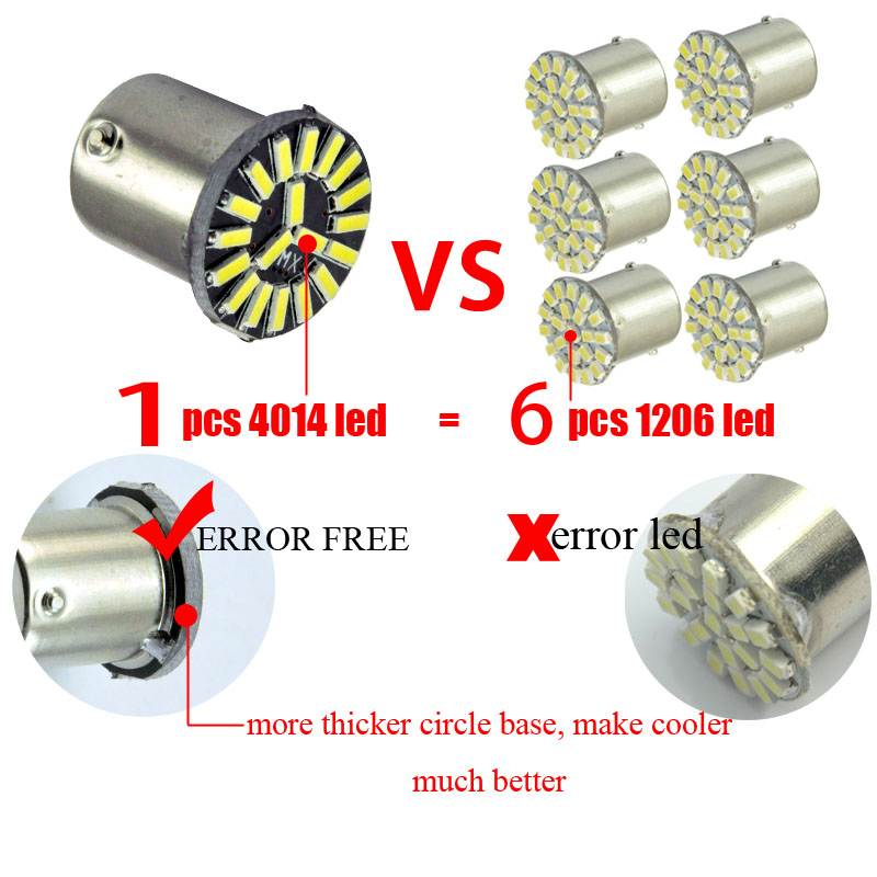 AutoEC 10x S25 1156 Ba15s 19SMD 4014 LED Car Car Auto Parking - Ավտոմեքենայի լույսեր - Լուսանկար 3