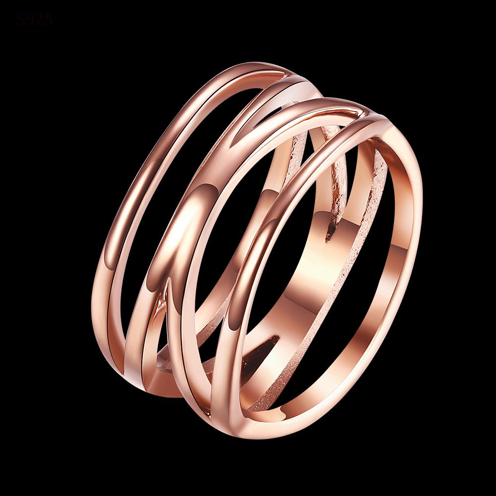 2017 rose Gold Color stainless steel cross ring for women Fashion finger rings jewelry engagement stainless steel ring