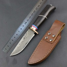 Damascus knife /copper steel head Straight Knife 59HRC Steel Outdoor Camping Tactical Knife/  pure hand made Hunting Knife
