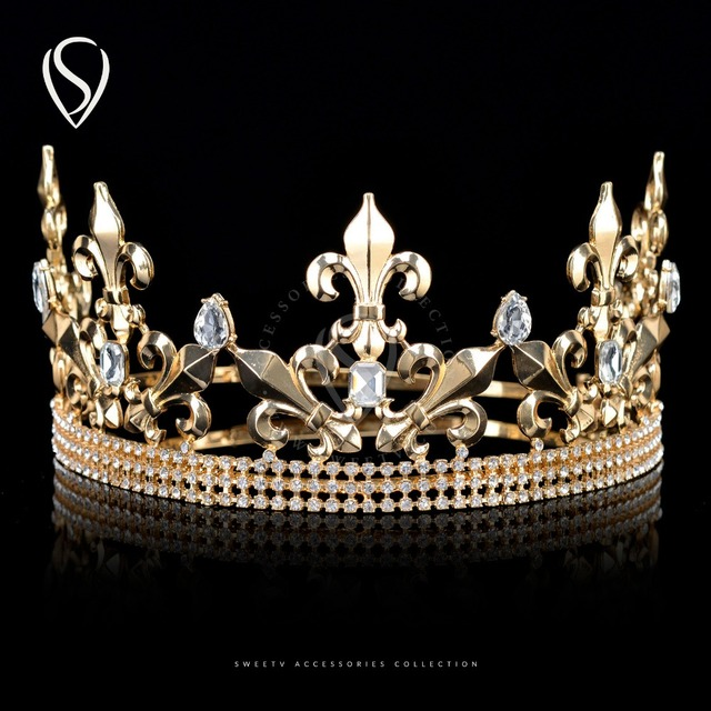 CLEARANCE SALE Imperial Medieval King Crown Crystal Prince