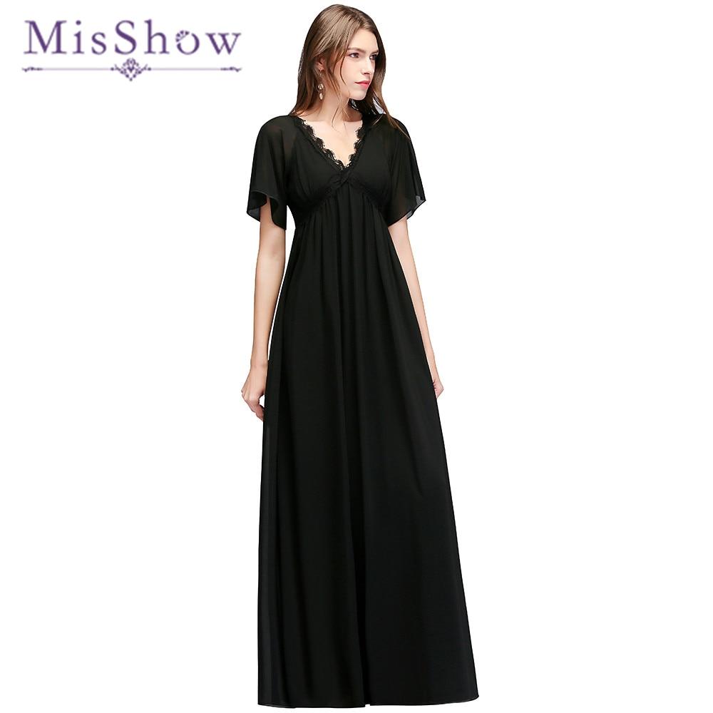 Black Short Sleeves Chiffon V Neck Cheap   Bridesmaid     Dresses   2018 A Line Floor Length Empire Waist Women Wedding Party   Dress