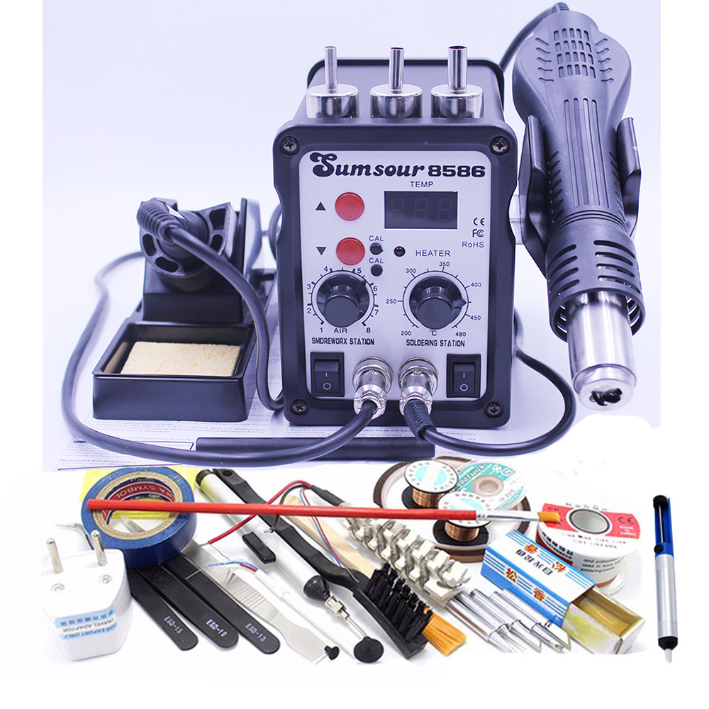 220V / 110V Thermostatic Electric Soldering Iron 2 In 1 Solder Station Hot Air Gun With Iron Tip Solder Wire Tweezers Heater 17pcs 30w electric soldering iron set welding hot gun repair tools with solder paste tweezers tin wire for diy hand tools