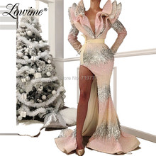 Pink And Silver Sequin Prom Dresses Arabic Kaftans Special Design Evening Dress Mermaid Party Gowns Robe De Soiree 2019 Newest