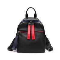 2019 Brand Design Backpack Leather Women Soft Genuine Cow Leather Girl College School Bag Bookbag Black Female Rucksack Big